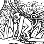 דף צביעה גורילה בסבך הג'ונגל