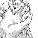 דף צביעה גורילה ובנה