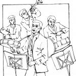 דף צביעה ניגון בתופים וחצוצרה