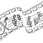 דף צביעה תווי נגינה וכינור