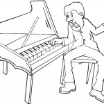 דף צביעה גבר מנגן בפסנתר