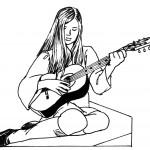 דף צביעה אישה מנגנת בגיטרה