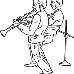 דף צביעה שניים מנגנים בחצוצרות