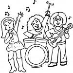 דף צביעה להקה מנגנת ושרה