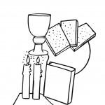 דף צביעה מצות, נרות, יין והגדה