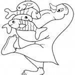 דף צביעה אימא פינגווין דואגת למזון