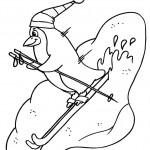 דף צביעה פינגווין על גלשן סקי