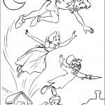 דף צביעה פיטר פן וחבריו עפים בשמיים