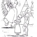 דף צביעה וונדי ופיטר פן במאהל אינדיאנים