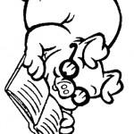 דף צביעה חזיר מלומד קורא ספר