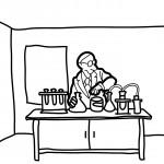 דף צביעה חוקר מדעי במעבדה