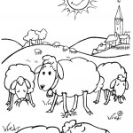 דף צביעה כבשים רועות באחו