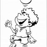 דף צביעה ילד מקפיץ כדור על הראש
