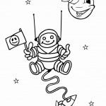 דף צביעה אסטרונאוט בחלל 1