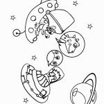 דף צביעה מפגש עם חייזרים בחלל