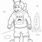דף צביעה ילד אסטרונאוטית וחללית