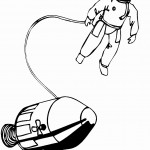 אסטרונאוט בחלל מחובר לחללית