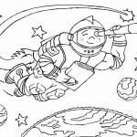 דף צביעה אסטרונאוט בחלל 7