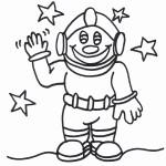דף צביעה אסטרונאוט בחלל 4