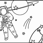 דף צביעה אסטרונאוט בחלל 3