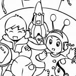 דף צביעה ילדים וחייזרים
