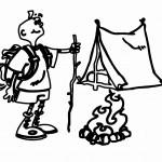 דף צביעה תרמילאי שומר על המדורה והאוהל
