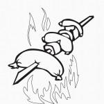 דף צביעה נקניקיות על האש