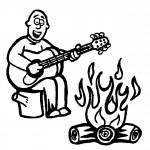 דף צביעה ניגון בגיטרה ליד המדורה
