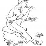 דף צביעה ילד אוכל בטבע