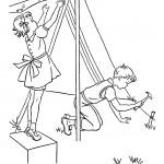דף צביעה ילדים בונים אוהל