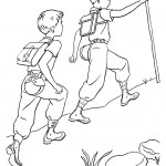 דף צביעה ילדים מטפסים על ההרים