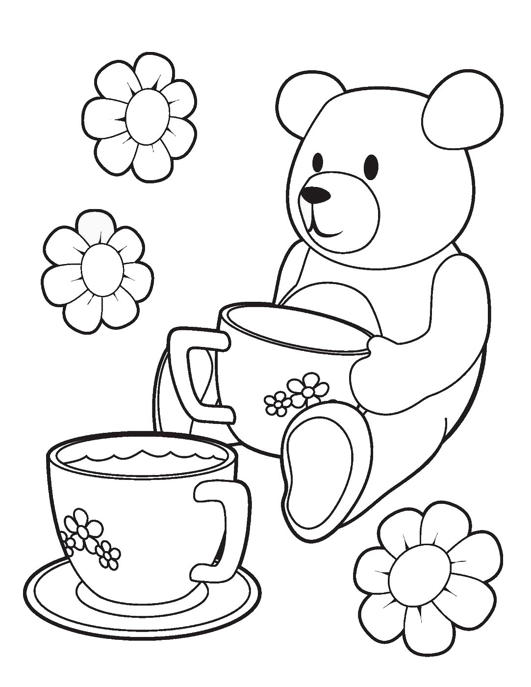 Pig tea party sheet coloring pages for Party coloring pages