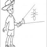 דף צביעה וודי מאיר את הנמלה בפנס