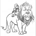 דף צביעה דורותי רוכבת על האריה