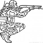 דף צביעה חייל מכוון את נשקו
