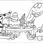 דף צביעה ברבאבא והכלב נהנים בארוחה
