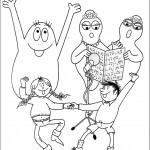 דף צביעה רוקדים ושרים במשפחת ברבאבא