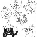 דף צביעה הפירות של משפחת ברבאבא