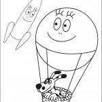 דף צביעה הכלב בכדור פורח