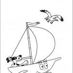דף צביעה הכלב שט בסירה