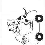 דף צביעה הכלב רוכב על אופנוע