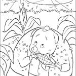 דף צביעה ראנט החזיר אוכל קלח תירס