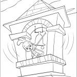 דף צביעה צ'יקן ליטל מצלצל בפעמון המגדל