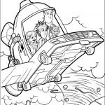 דף צביעה פלינט וחבריו טסים לכוכב