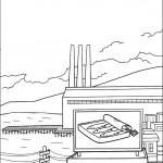 דף צביעה מבט מלמעלה על חנות הסרדינים
