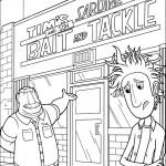 דף צביעה פלינט ואביו ליד חנות הסרדינים