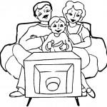 דף צביעה המשפחה צופה בטלוויזיה