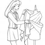 דף צביעה אישה בוחנת שמלה לקנייה