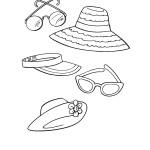 דף צביעה כובעים ומשקפיים לקיץ