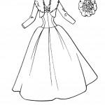 דף צביעה שמלה בעיטור פרווה